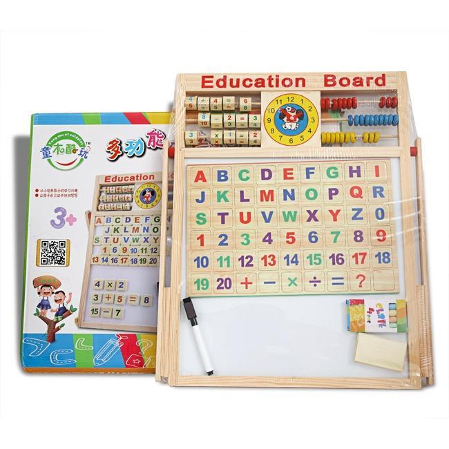 Hình ảnh Bảng gỗ 2 mặt học chữ cái và chữ số gắn nam châm