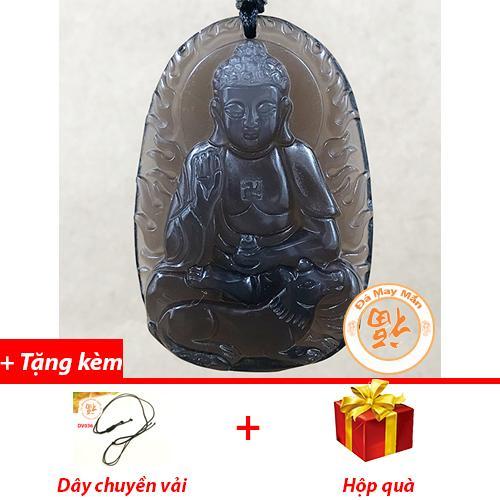 Mặt Dây Chuyền Phật Bản Mệnh A Di Đà Tuổi Tuất Obsidian