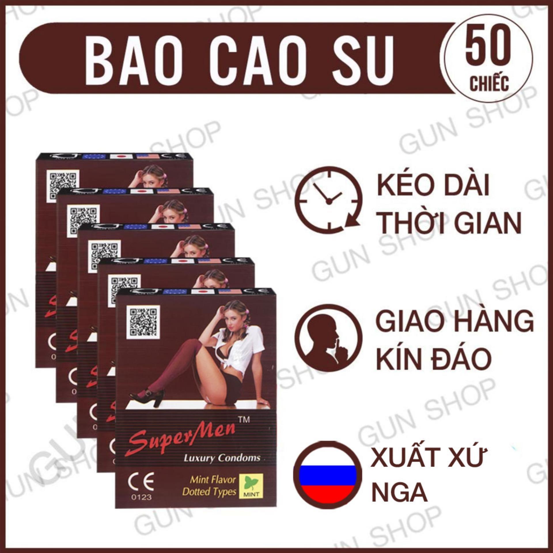 Bộ 5 (50 chiếc) Bao Cao Su Supermen Kéo Dài Thời Gian Quan Hệ (Hương Bạc Hà) - GUNSHOP