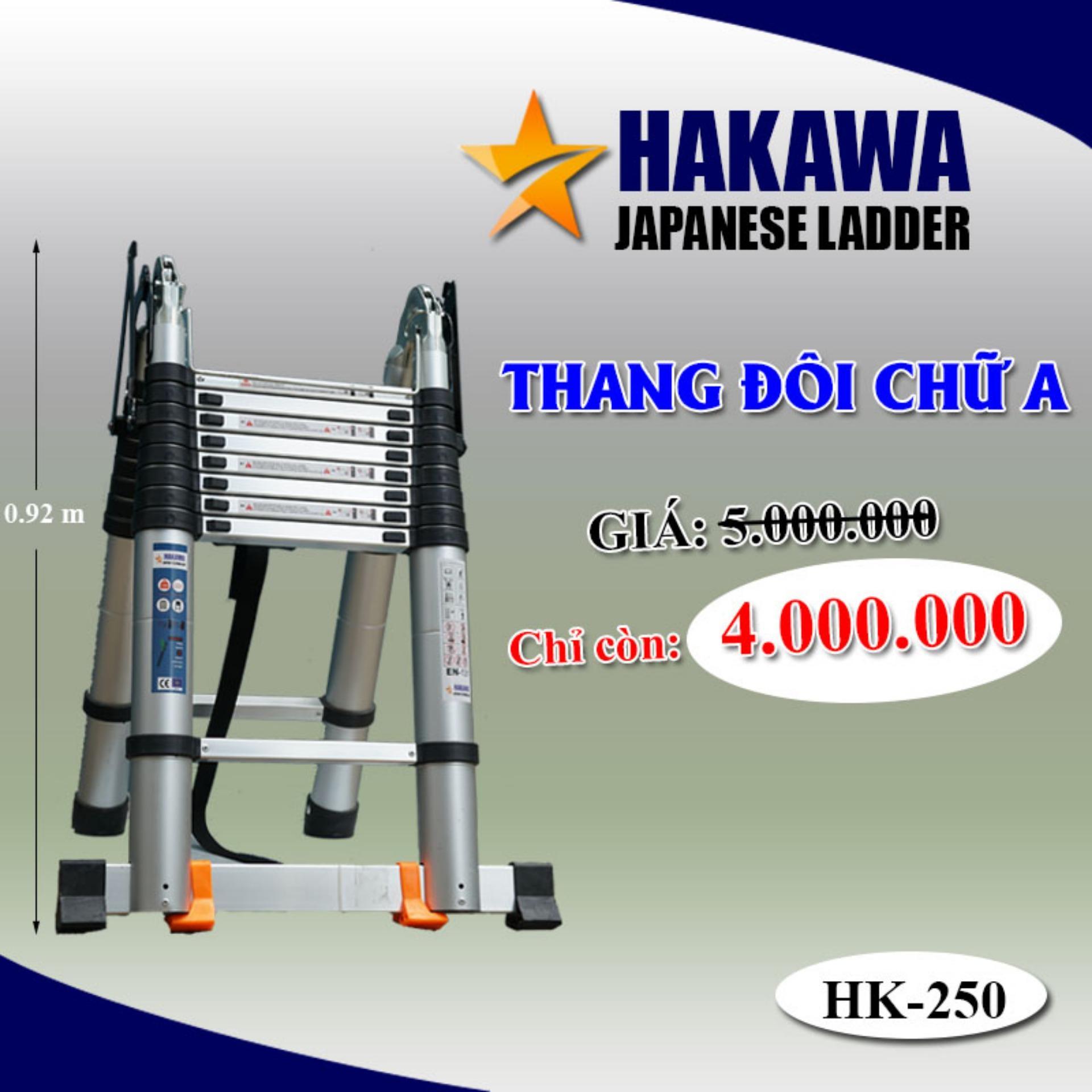 [HAKAWA] Thang nhom rut doi chu a HAKAWA JAPAN HK250 2m5  - Dành cho thợ chuyên nghiệp (duỗi thẳng 5 mét, gập chữ A 2 mét 5)