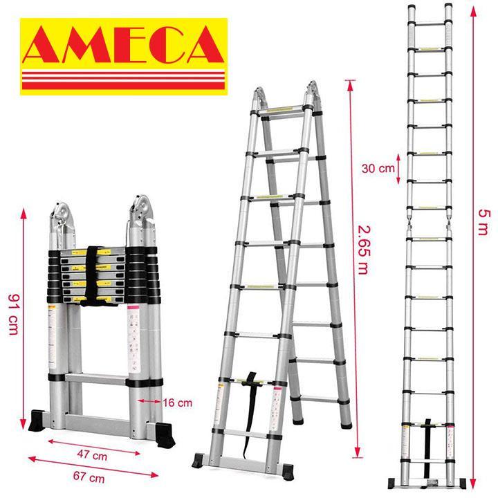 Thang nhôm rút chữ A AMECA AMI500 - 5,0m