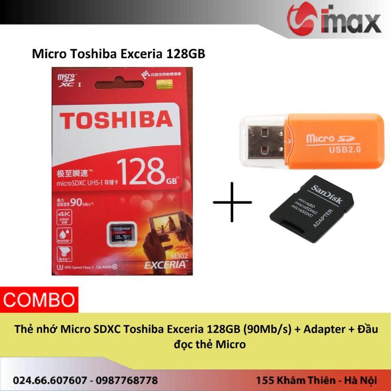 Thẻ nhớ Micro SDXC Toshiba Exceria 128GB (90Mb/s) + Adapter + Đầu đọc thẻ Micro