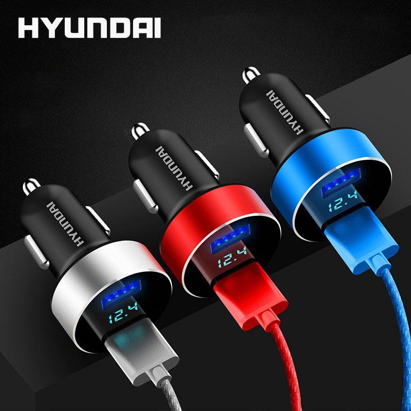 Hình ảnh Tẩu sạc Hyundai hai cổng USB hàng cao cấp sạc nhanh thông minh 4.8A có màn hình led