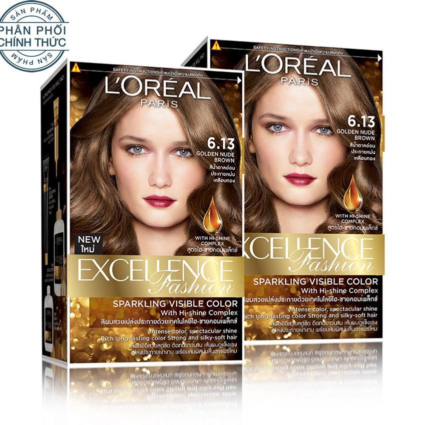 Bộ 2 kem nhuộm dưỡng tóc màu thời trang LOreal Paris Excellence Fashion - Màu 6.13