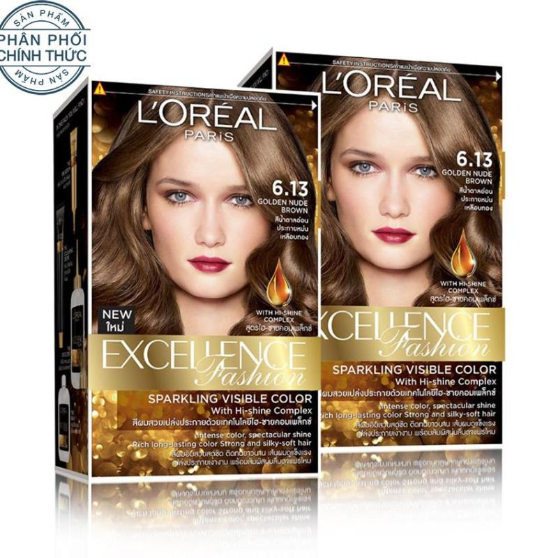 Bộ 2 kem nhuộm dưỡng tóc màu thời trang LOreal Paris Excellence Fashion - Màu 6.13 cao cấp