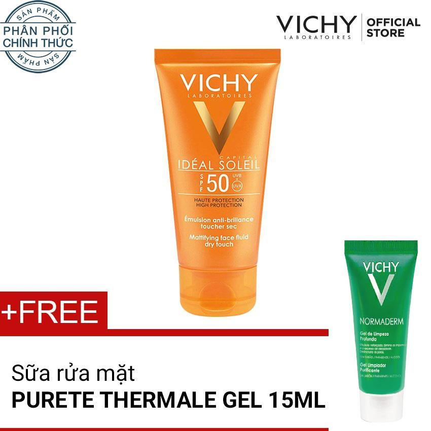 Mua Kem Chống Nắng Khong Mau Khong G*y Nhờn Rit Vichy Ideal Soleil Dry Touche 50Ml Tặng Sữa Rửa Mặt Danh Purete Thermale Gel 15Ml Trực Tuyến Rẻ