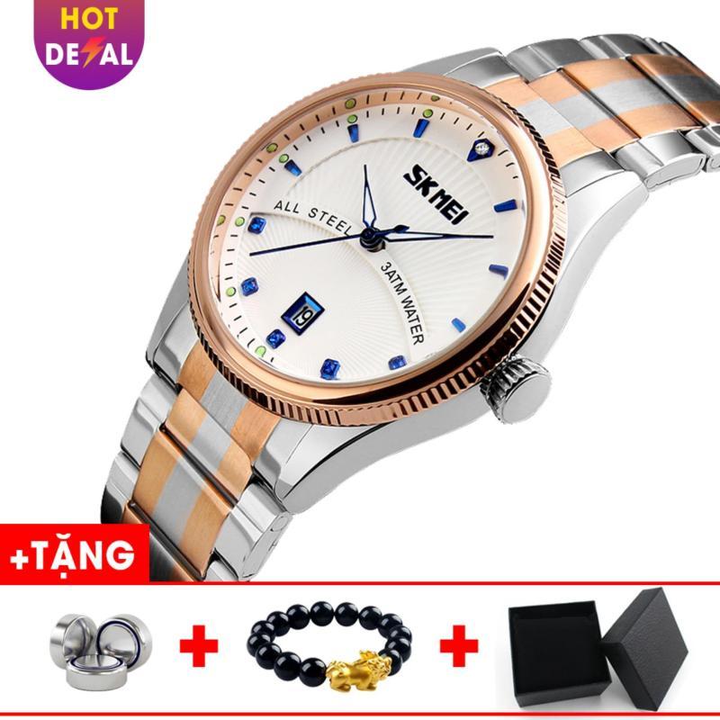 Đồng hồ nam dây thép không gỉ đẳng cấp SKMEI SK019 - Boss Watches (Trắng)