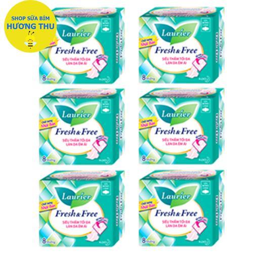 Bộ 6 Gói Băng vệ sinh Laurier Fresh & Free siêu thấm tối đa làn da êm ái cánh 8 miếng nhập khẩu