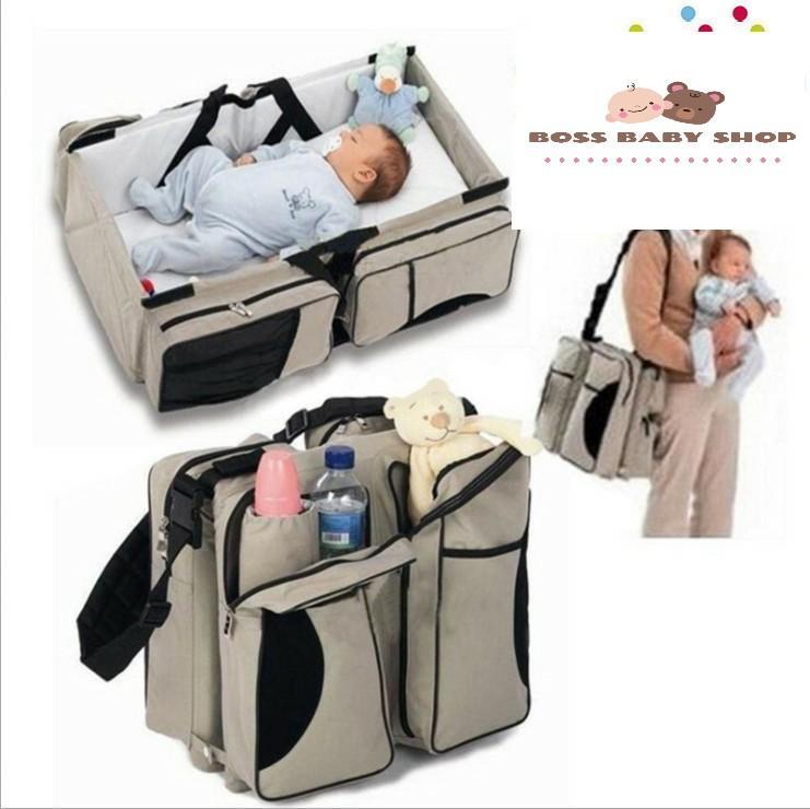 Giường Baby Kiêm Túi Xếp Gọn Du Lịch Thật Tiện Dụng Royal Baby (75x35x20cm) (Màu Beige)