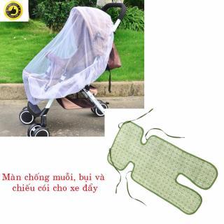 Bộ Màn chống muỗi, bụi 150 + chiếu cói 1 lớp cho xe đẩy em bé. thumbnail