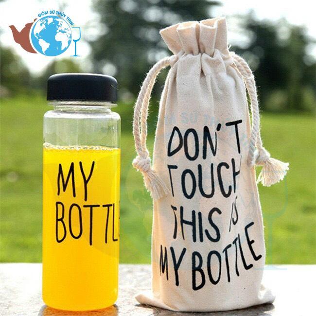 Hình ảnh Bình Đựng Nước Thuỷ Tinh My Bottle 500 ml + Kèm Túi Vải