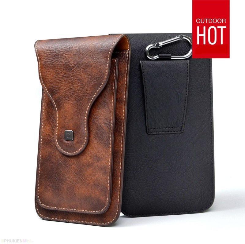Giá Túi Puloka 2 ngăn đeo hông thắt lưng loại đứng cho điện thoại nhiều size 5 inch, 5.2 inch, 5.5 inch, 6 inch, 6.3 inch, 6.5 inch 2 màu nâu và đen