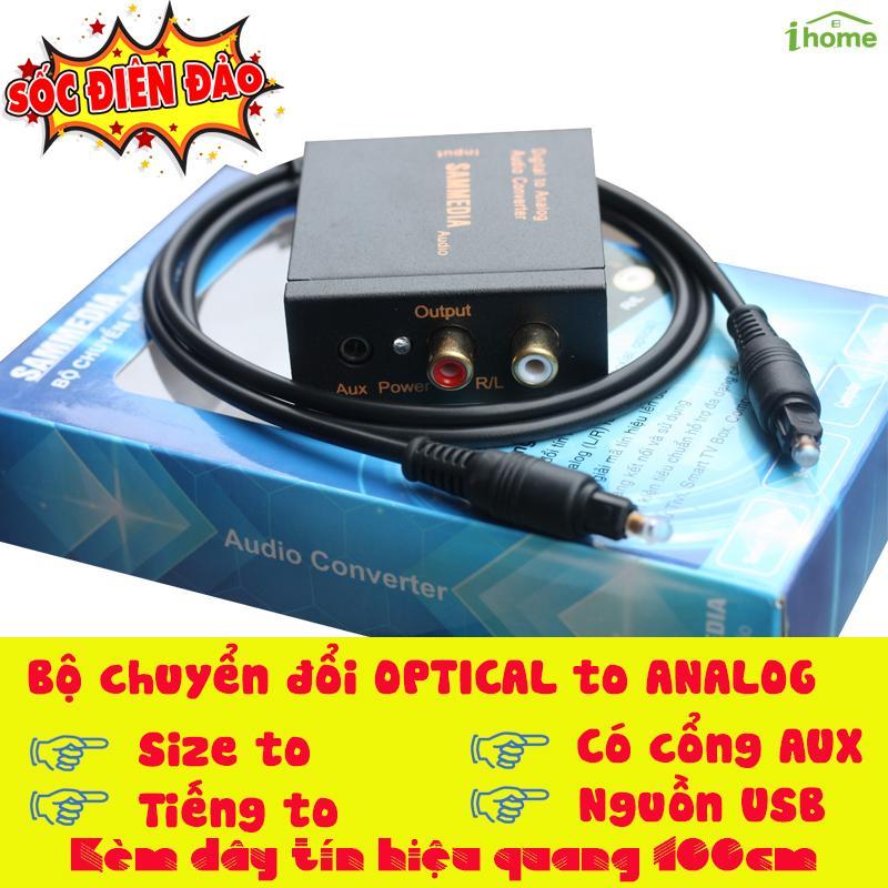 Thiết bị chuyển đổi âm thanh tivi 4K (Quang học) ra Amply có cổng audio 3.5 SAMMEDIA dùng nguồn USB âm thanh cực to, tặng kèm dây quang toslink
