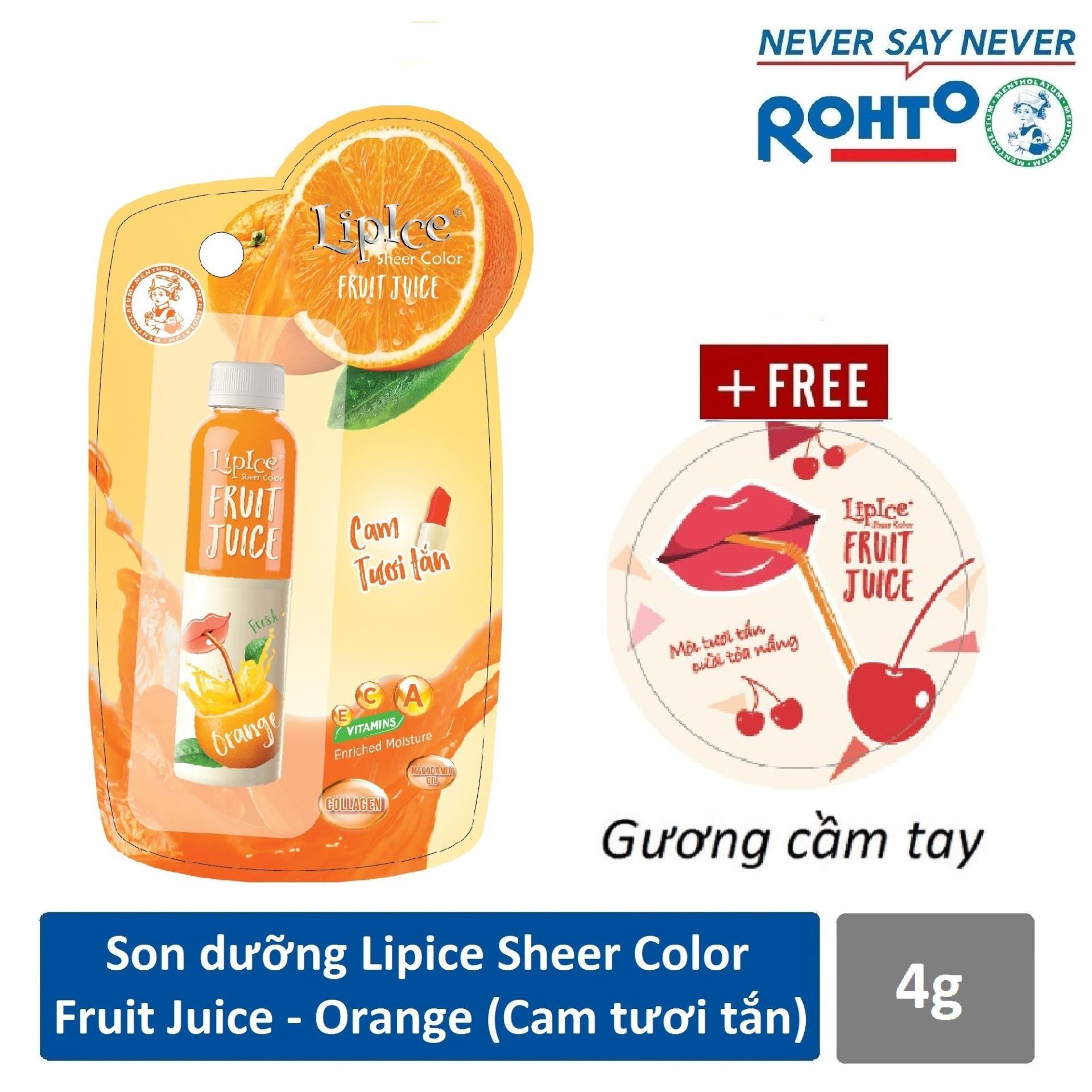 Son dưỡng chiết xuất trái cây Lipice Sheer Color Fruit Juice Orange 4g (Cam Tươi Tắn) + Tặng gương cầm tay xinh xắn