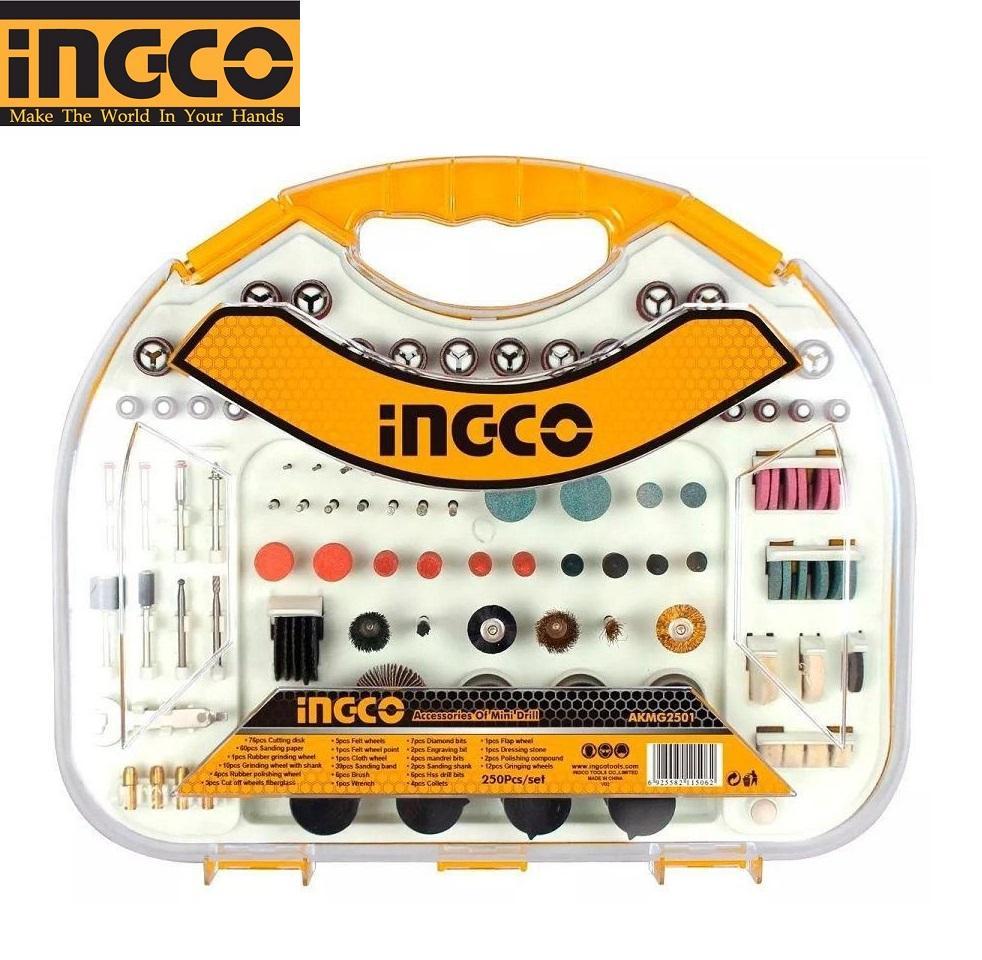 Bộ 250 linh kiện khoan mini hiệu Ingco- AKMG2501