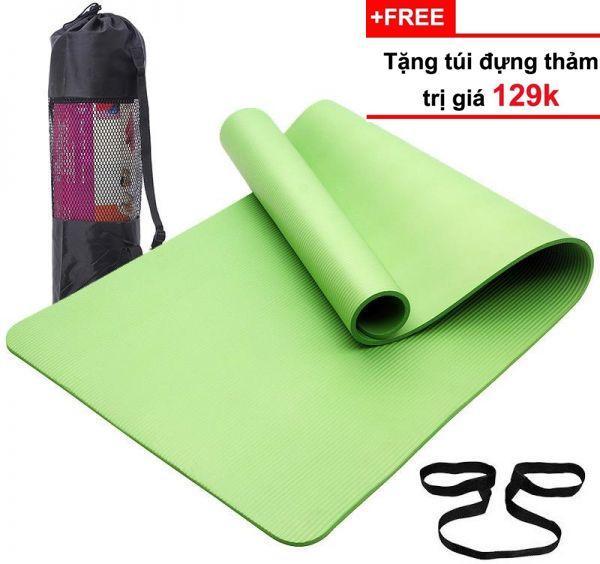 Thảm Tập Yoga Cao Cấp Hàn Quốc TPE (Tặng Kèm Túi Đựng + Dây Buộc Thảm) - Cao su non siêu bền, dày 8mm (màu tím)