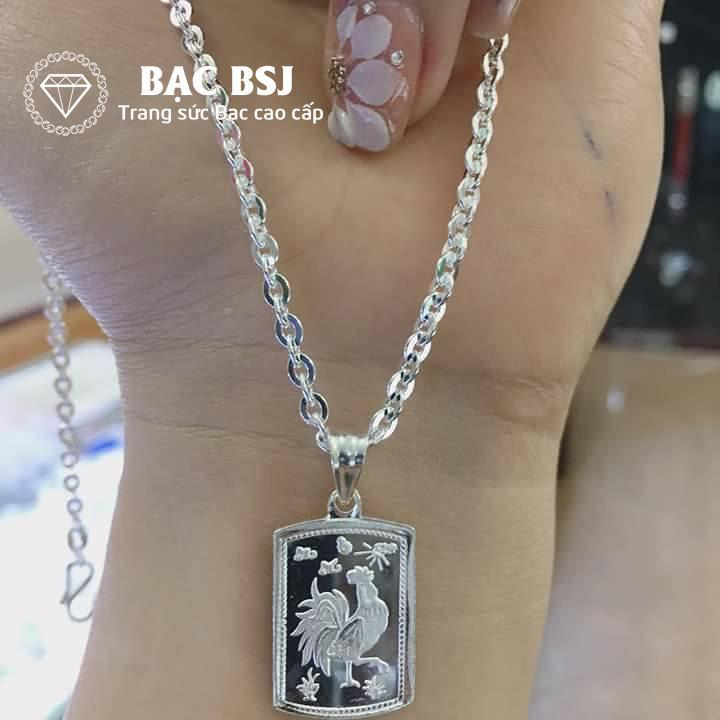 Mặt dây chuyền bạc hình 12 con giáp cho bé tuổi Dậu (GIÁ gồm cả mặt con giáp và dây chuyền bạc trọng lượng 2 chỉ) phù hợp với bé từ 1 - 10 tuổi, mặt dây chuyền 12 con giáp bằng bạc, dây chuyền bạc 12 cung hoàng đạo, Bạc BSJ - DCG022