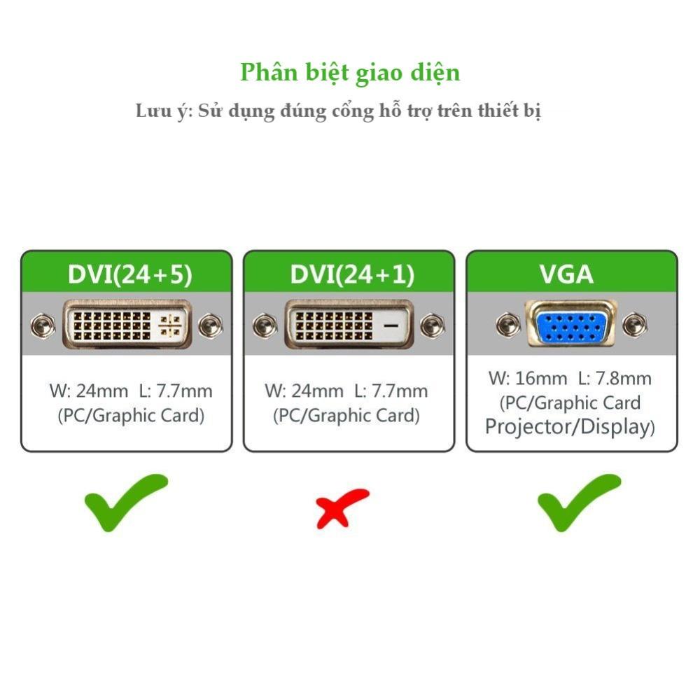 Cáp chuyển DVI-I (24+5) sang cổng VGA, dài từ 1-5m UGREEN DV102