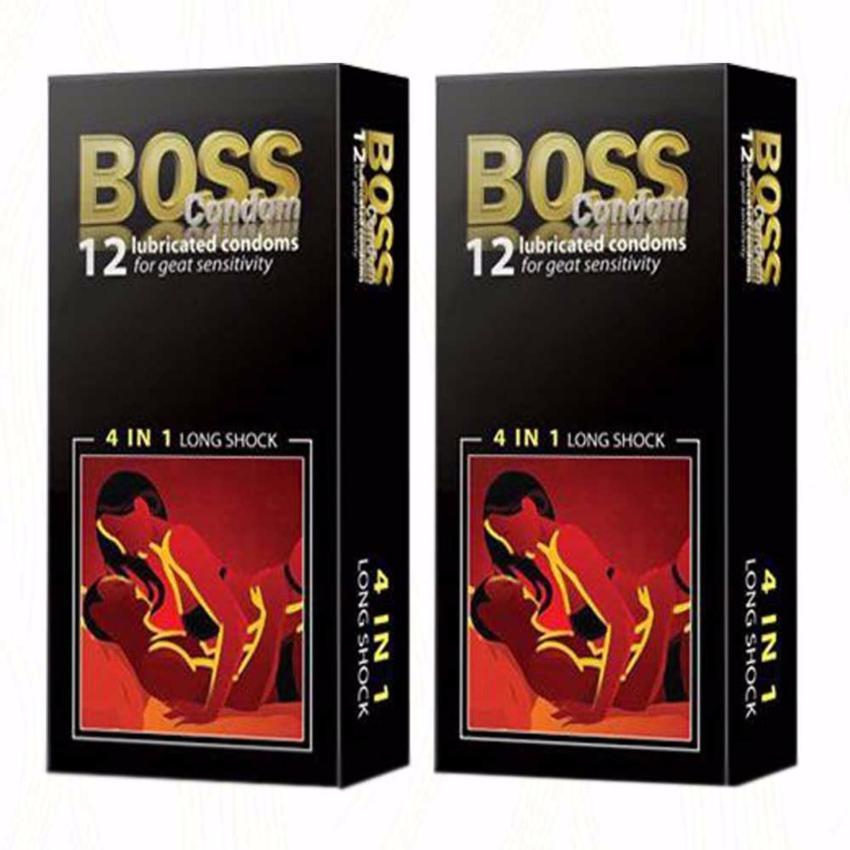 Bộ 2 hộp Bao cao su gân gai nổi - kéo dài thời gian cực tốt Boss 4in1 hộp ( 24 chiếc)