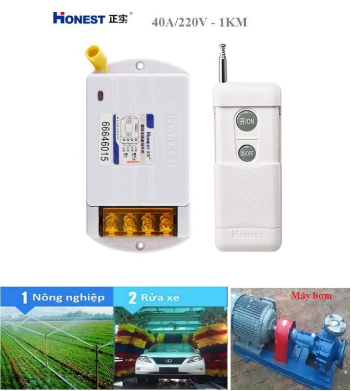 [CÓ HỌC LỆNH]Bộ công tắc điều khiển tắt mở thiết bị điện từ xa công suất lớn Honest HT-6220KG-1 khoảng cách 1KM (40A-220V), công tắc wifi, công tắc bật tắt máy bơm nước từ xa, ổ cắm điều khiển từ xa, ổ cắm wif, công tắc điện