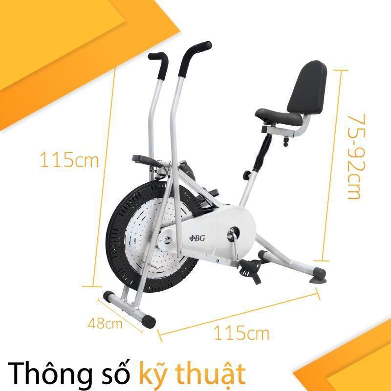 BG - Xe đạp tập thể dục Air bike có tay cảm ứng và tựa lưng siêu việt
