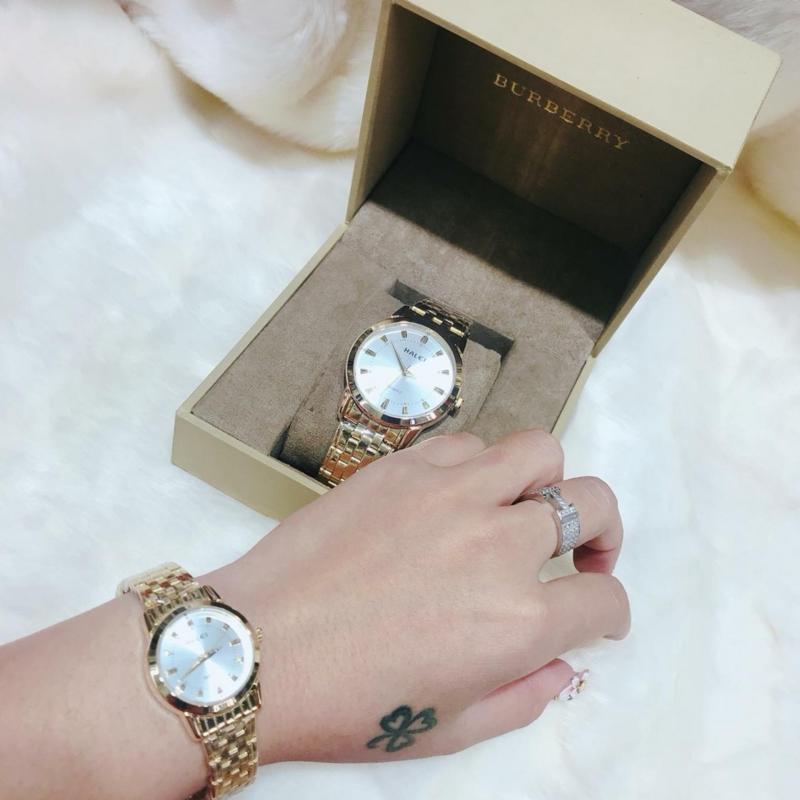 Đồng hồ nữ mạ vàng cao cấp Halei dây vàng mặt trắng 502