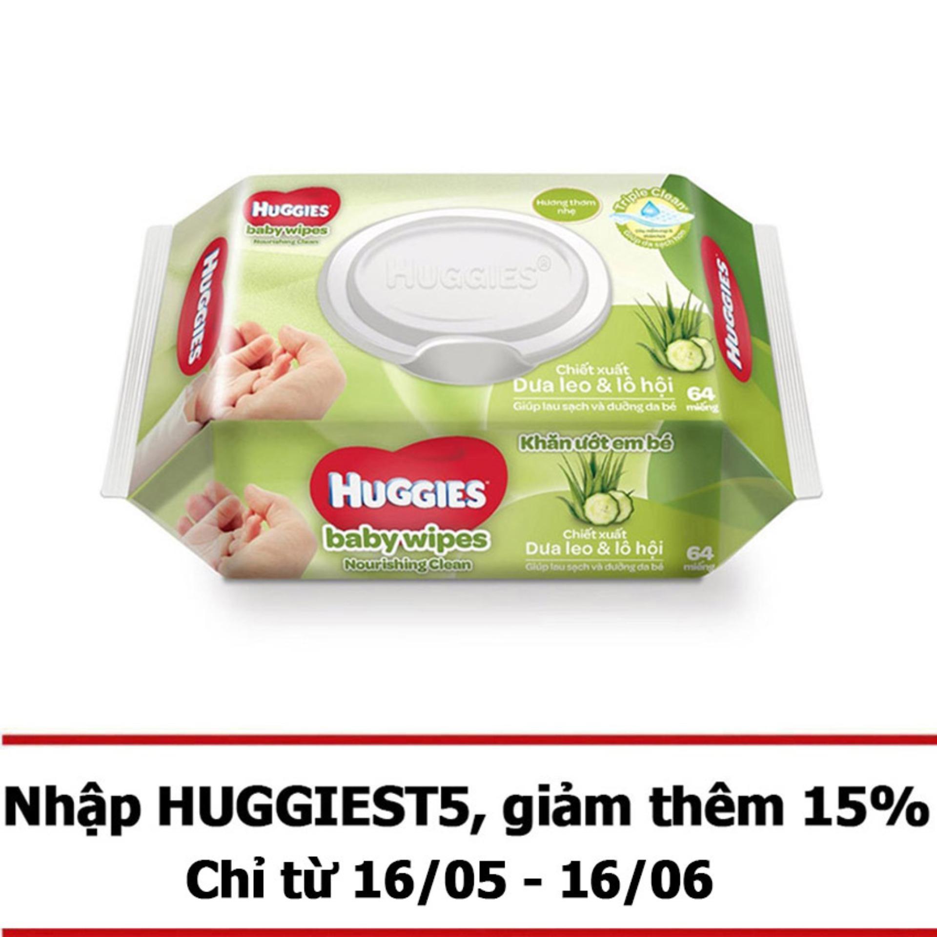 Bộ 12 gói khăn giấy ướt cho trẻ sơ sinh Huggies (Gói 64 tờ) - Chiết xuất dưa leo và lô hội