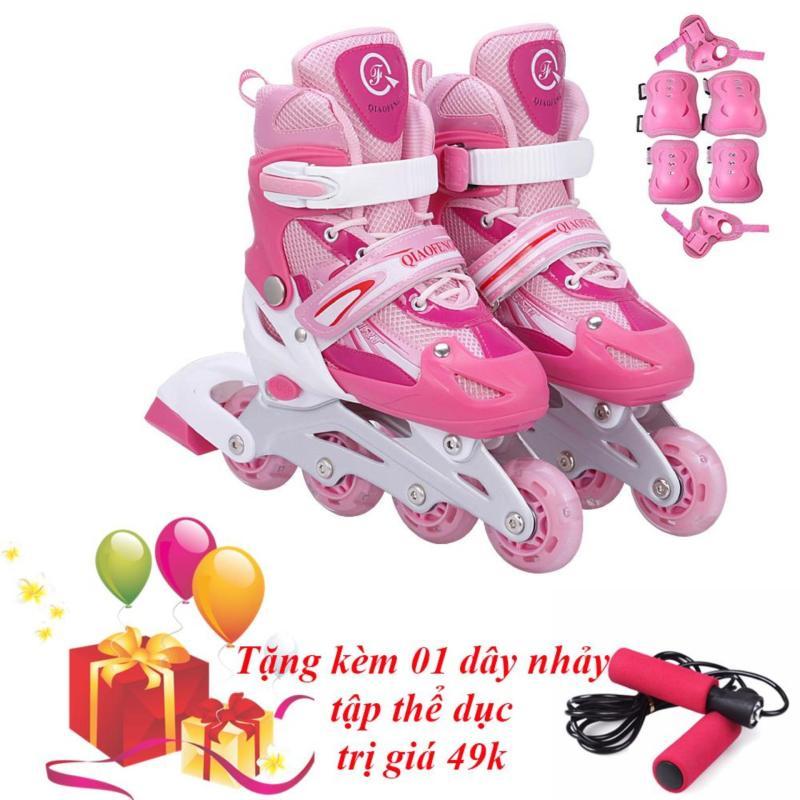Phân phối Giày Trượt Patin Phát Sáng Toàn Bộ Bánh & Đồ Bảo Hộ (Size M) - TiGi Mall - Tặng Kèm 1 Dây Nhảy
