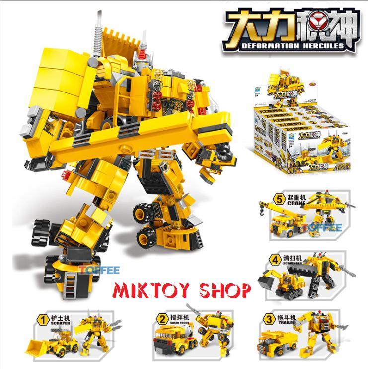 Hình ảnh Đồ chơi xếp hình Lego Robot biến hình Transformers chất liệu cao cấp - Bộ 5 hộp sản phẩm với 847 mảnh ghép - Giúp trẻ thoả sức sáng tạo ý tưởng với đầy đủ mảnh ghép.