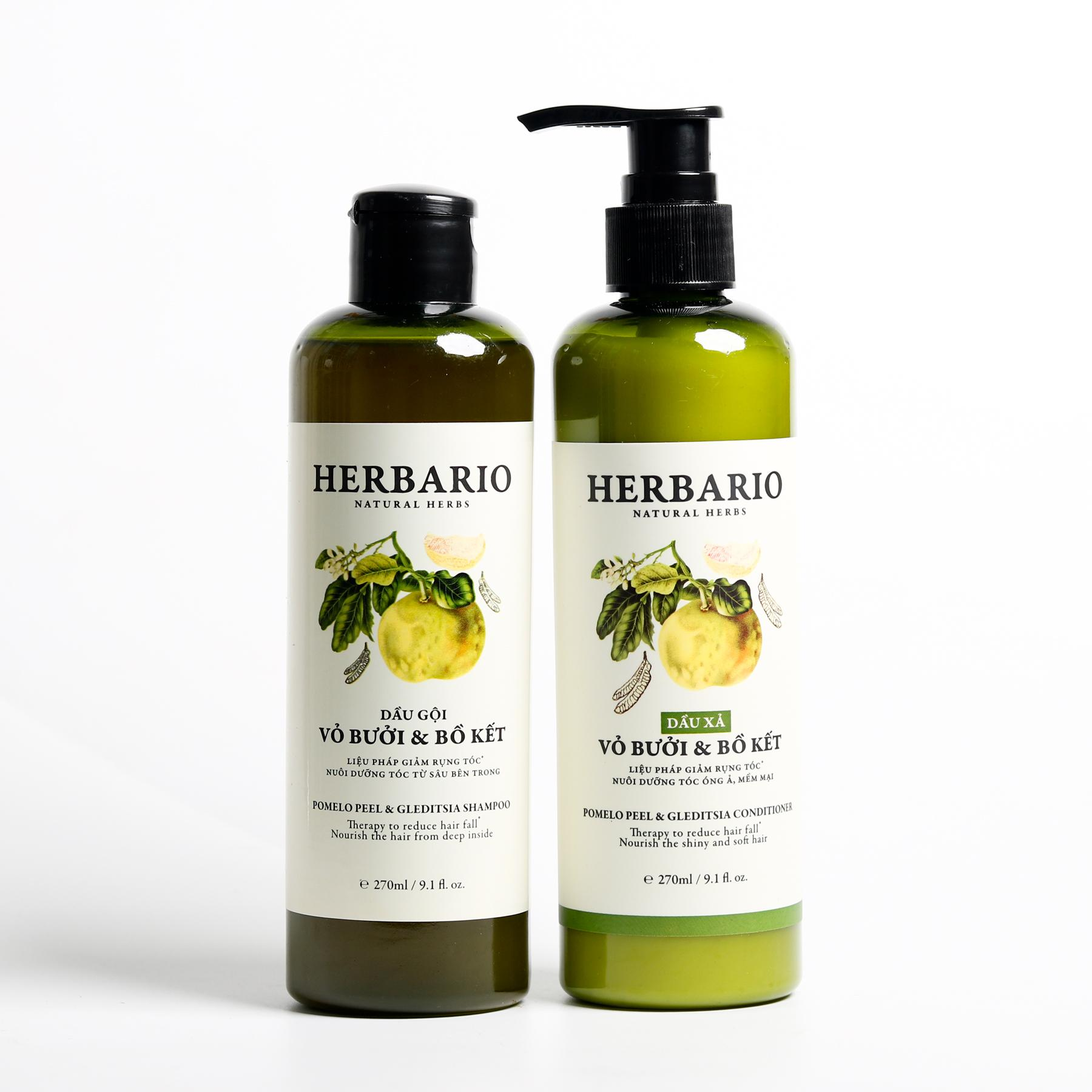 Bộ dầu gội xả vỏ bưởi bồ kết Herbario giúp mọc tóc, dưỡng tóc tốt nhất