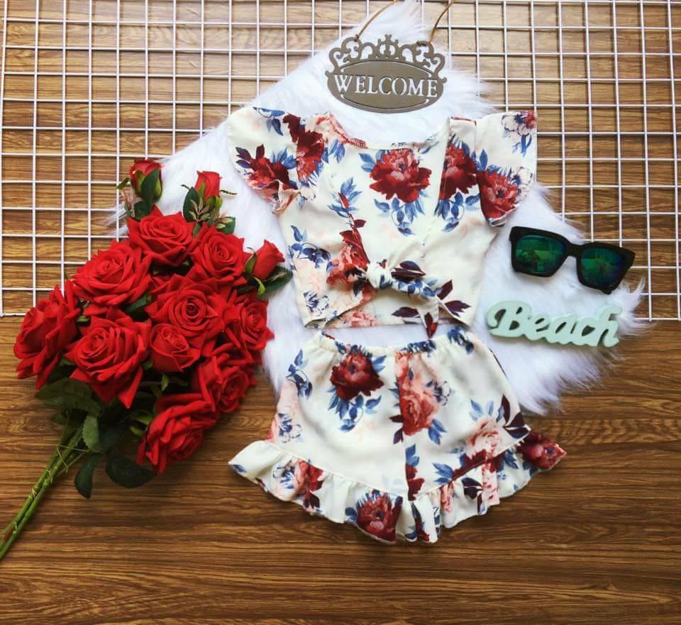 Lyvyshop - Bộ quần áo bé gái Croptop cột nơ siêu dễ thương, mát dịu cho bé 10-25kg