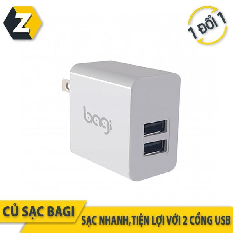 Củ sạc nhanh 2 cổng USB Bagi tiêu chuẩn châu Âu - Made in Việt Nam -Bảo hành 12 tháng
