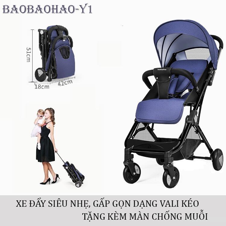 Xe đẩy trẻ em cao cấp Baobaohao Y1 gấp gọn dạng Vali kéo (Tặng kèm màn chống muỗi) Nhật Bản
