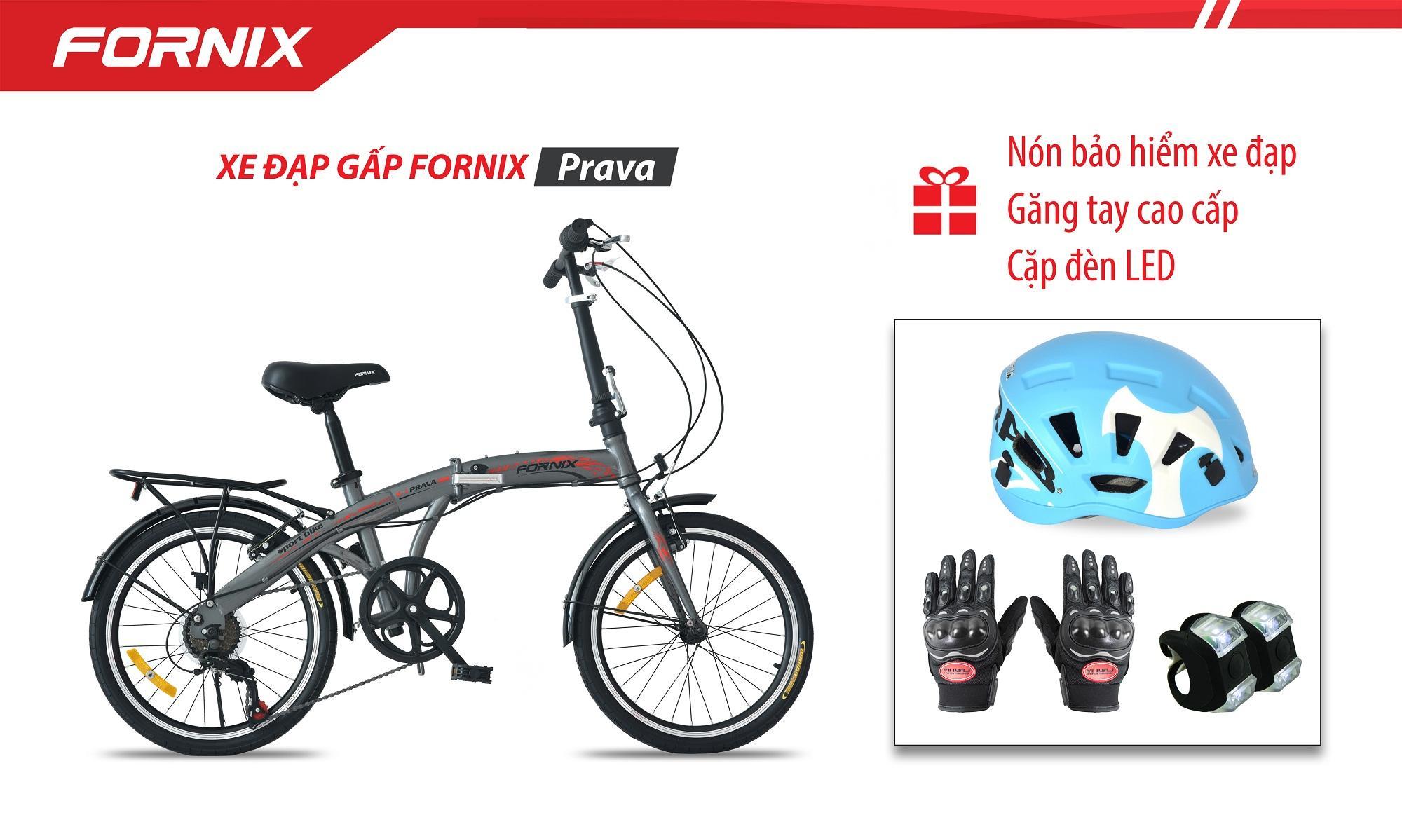 Xe đạp gấp hiệu FORNIX, mã PRAVA + (Gift) Cặp đèn LED, Nón Bảo Hiểm A02A5L, Găng tay