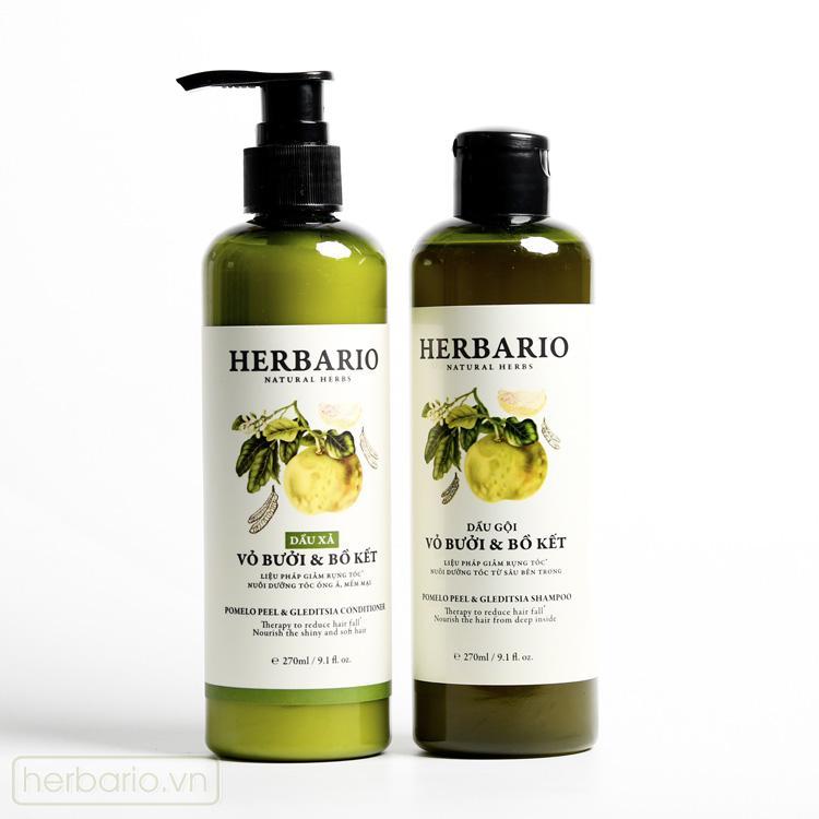 Hình ảnh Combo DẦU GỘI và DẦU XẢ vỏ bưởi và bồ kết Herbario 270ml x 2 giúp chăm sóc tóc