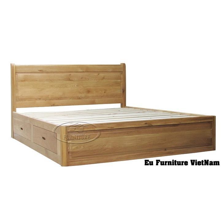 Giường ngủ gỗ sồi Mỹ có ngăn kéo 1m8 x 2m
