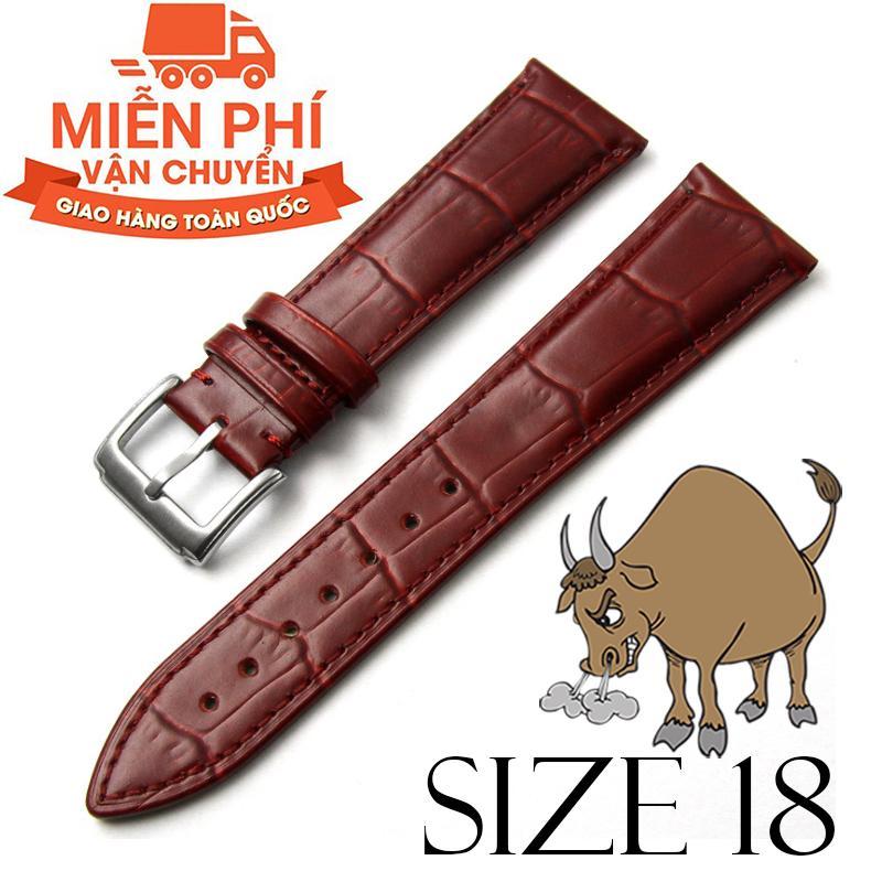 Nơi bán Dây đồng hồ da bò cao cấp BO3 SIZE 18mm (nâu đỏ)