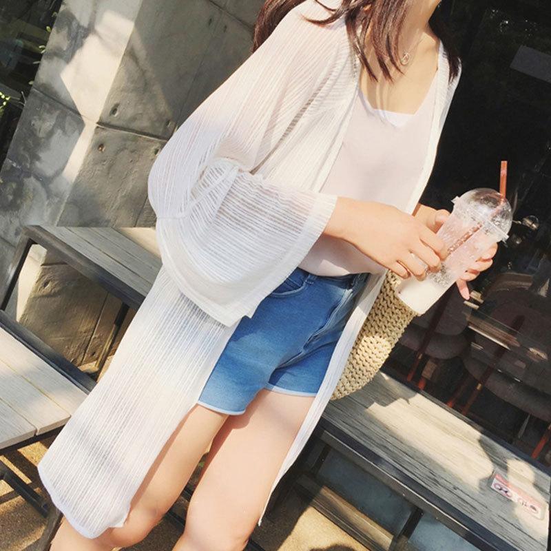 Áo khoác Cardigan nữ mỏng from dài màu trắng cực chất Hàn Quốc