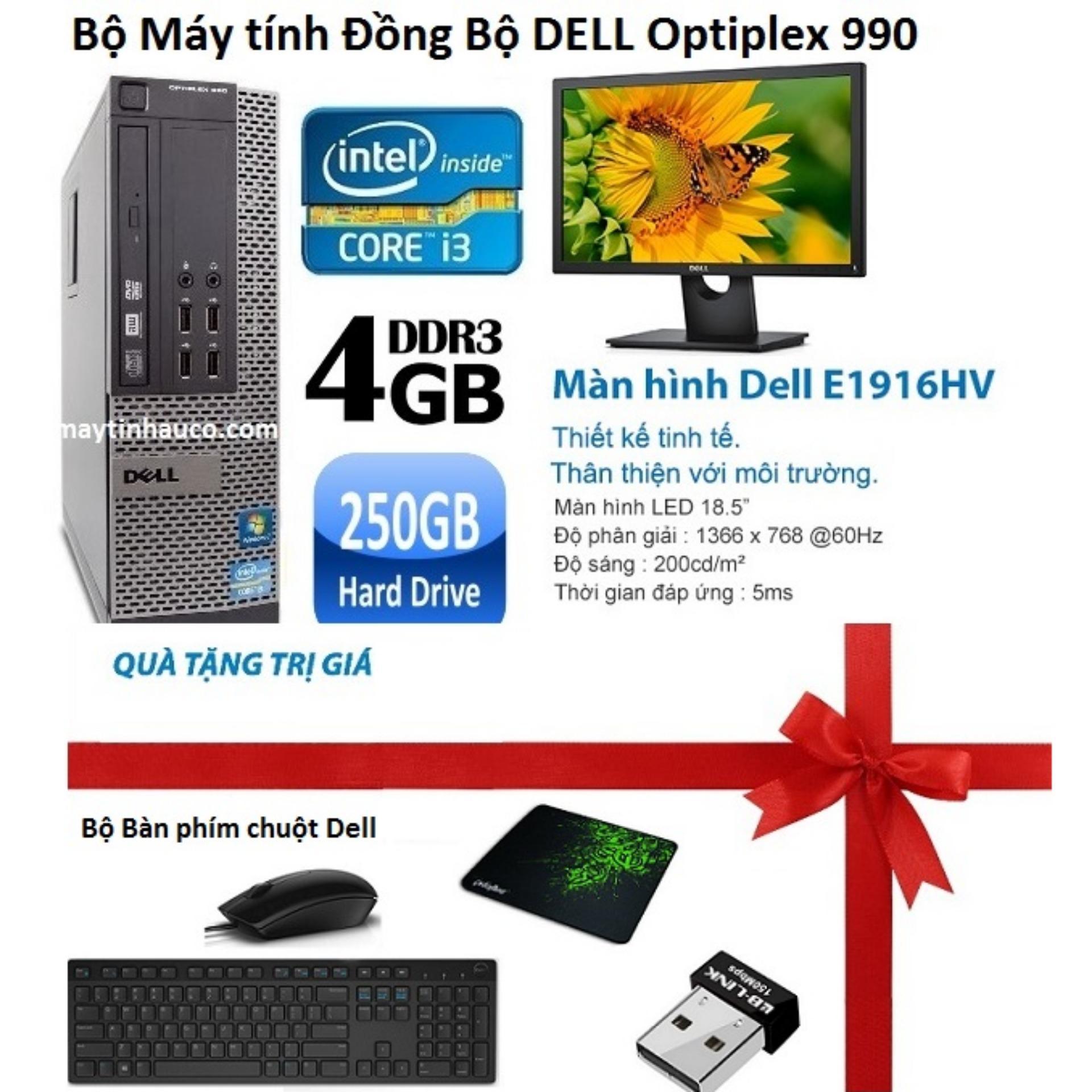 Đồng Bộ Dell Optiplex 990 (Core i3 2100 / 4G / 250G ) , Màn hình Dell 18.5inch Wide Led , Tặng Bàn phím chuột Dell , USB Wifi , Bàn di chuột - Hàng Nhập Khẩu