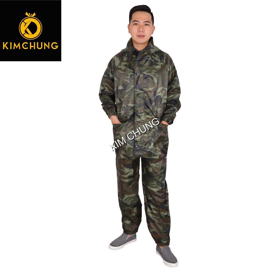 Bộ áo mưa cao cấp màu rằn ri, vải dù cao cấp siêu bền, không thấm nước (3XL)