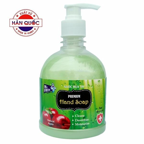 Nước rửa tay Premium Mr Fresh Hàn Quốc 500ml Hương Táo Mỹ (Xanh Lá) GT713 tốt nhất