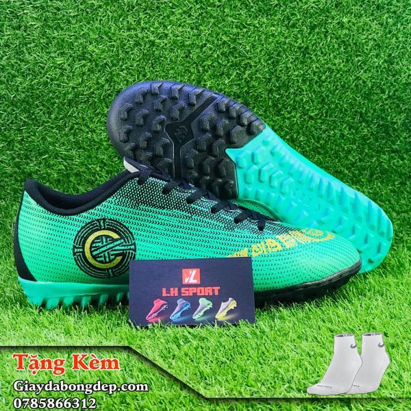 Giày đá bóng giày đá banh sân cỏ nhân tạo MERCURI VAPOR CR7 xanh lá, siêu nhẹ, siêu bền (Tặng kèm vớ)