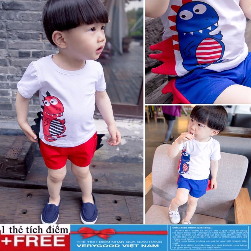 Hình ảnh Bộ ngắn tay khủng long siêu cute cho bé trai + Tặng kèm thẻ tích điểm Verygood