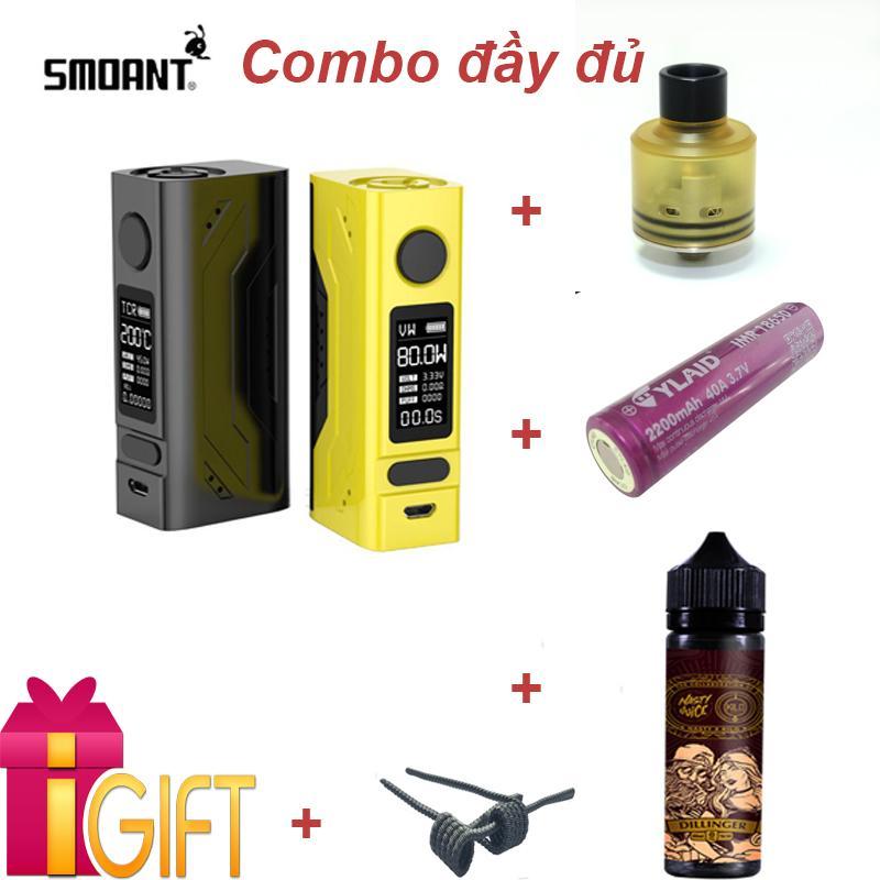 Hình ảnh Combo Vape Box BATTLESTAR MINI 80W (Có Check Code) - Đầy đủ Sạc, Tinh dầu 60ml, Pin Cylaid, Tank Hadaly, Coil, Bông