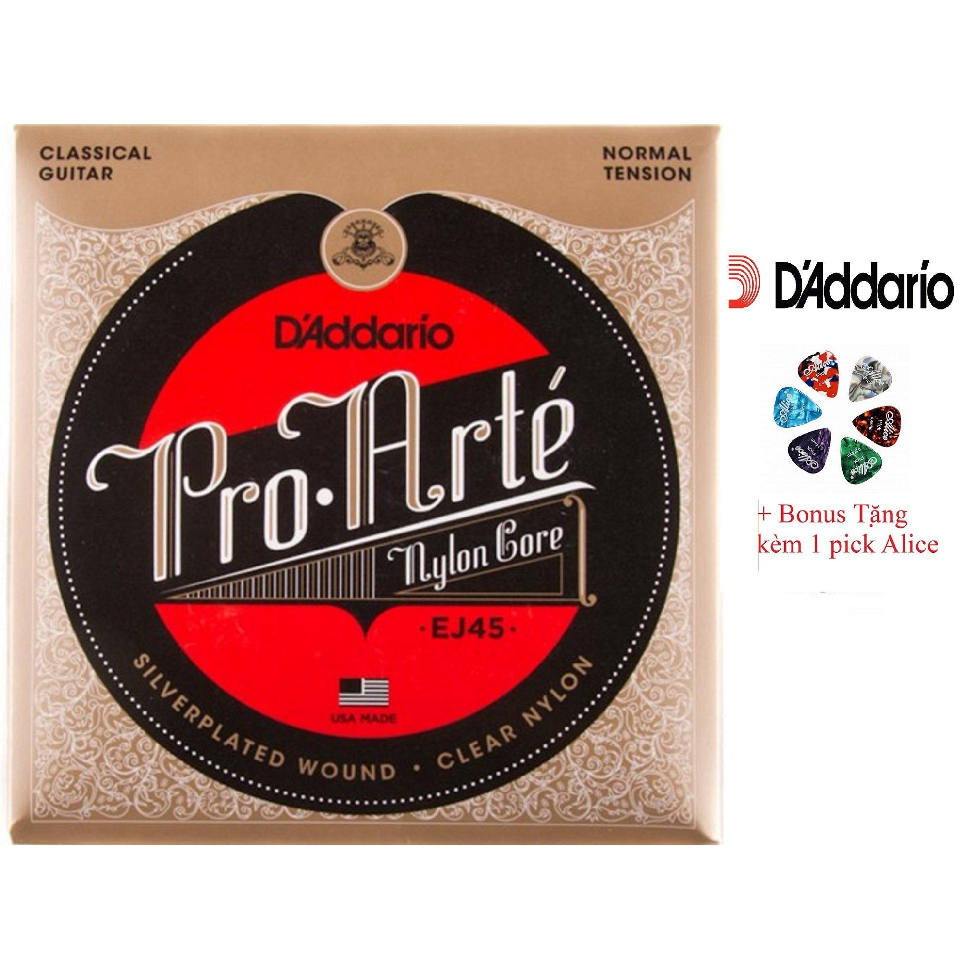 Giá Bán Bộ Hộp 6 Day Đan Guitar Classic D Addario Ej45 Cao Cấp Pick Alice Mới Rẻ