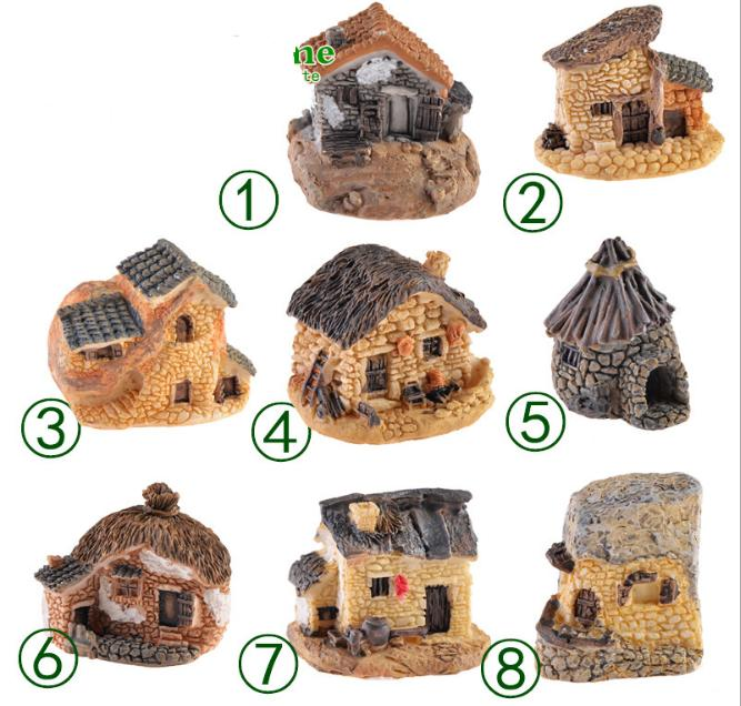 Mua Combo 08 mô hình ngôi nhà mái rạ, mái ngói, tường đá trang trí bonsai, tiểu cảnh