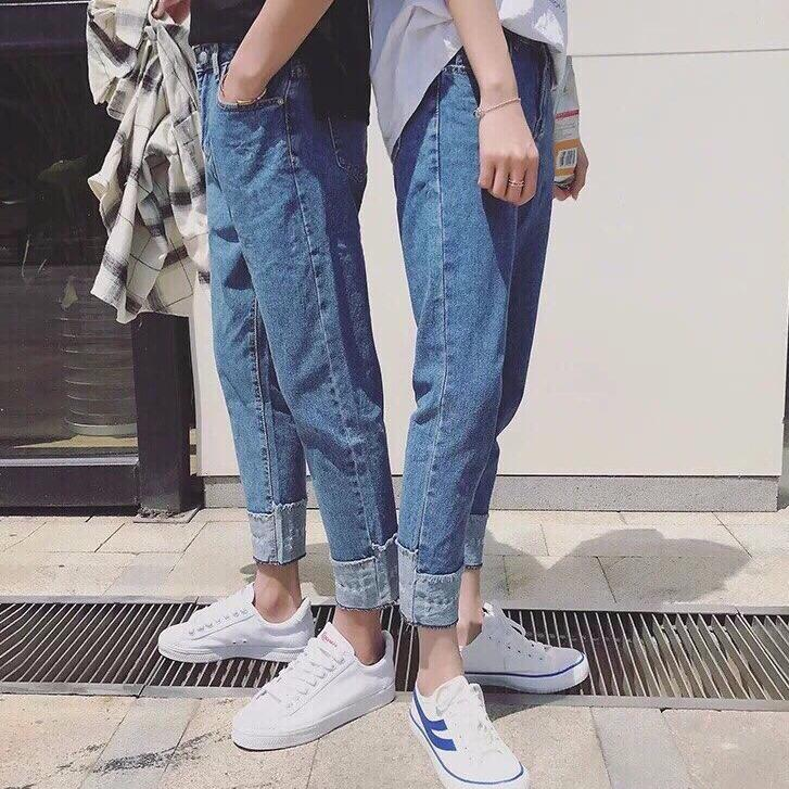 quần beggy jean thời trang hàn quốc phong cách unisex