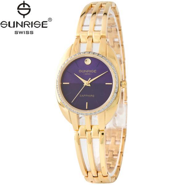 Đồng hồ nữ dây kim loại mặt kính sapphire chống xước Sunrise SL9938DLK Tím