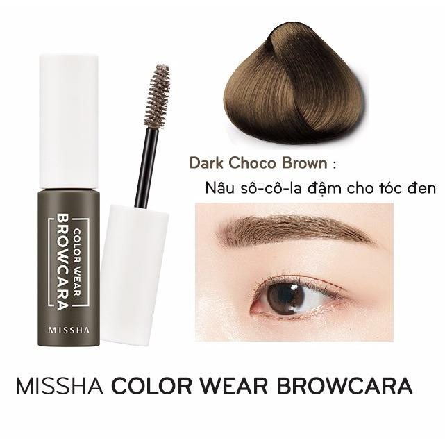 Mã Khuyến Mại Mascara Chan May Missha Color Wear Browcara Dark Choco Brown Nau So Co La Đậm Cho Toc Đen
