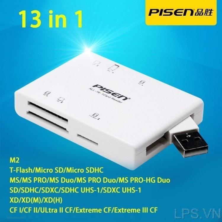 Đầu đọc thẻ nhớ Pisen All-in-1 USB 2.0 - 6 Slot (Trắng)